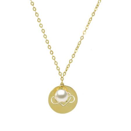 Κρεμαστό Χρυσό Κολιέ Άπειρο και Καρδιά 9Κ Λευκό Μαργαριτάρι