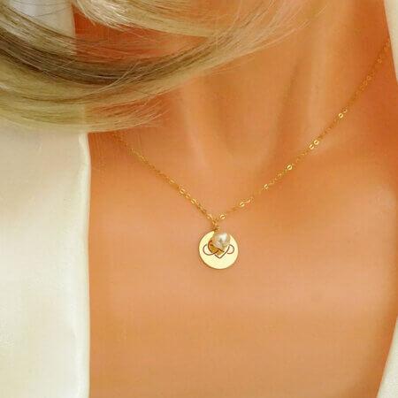 Κρεμαστό Χρυσό Κολιέ Άπειρο και Καρδιά 9Κ Λευκό Μαργαριτάρι Γυναικείο