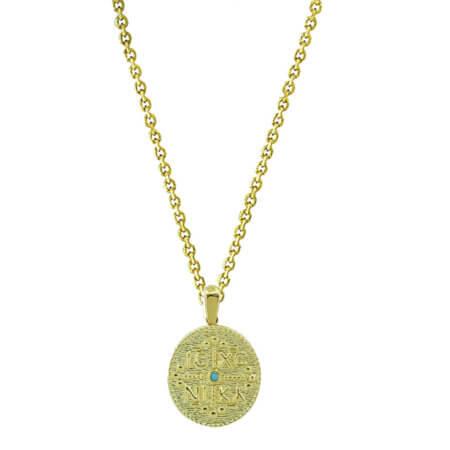 Κωνσταντινάτο Επίχρυσο 925 Ασήμι Γάλάζια Πέτρα Ζιργκόν