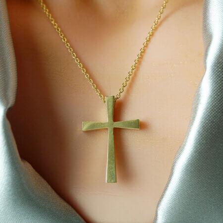 Σταυρός Επίχρυσος 925 Κλασική Γραμμή Αλυσίδα Unisex Δώρο Γέννησης Βάπτισης