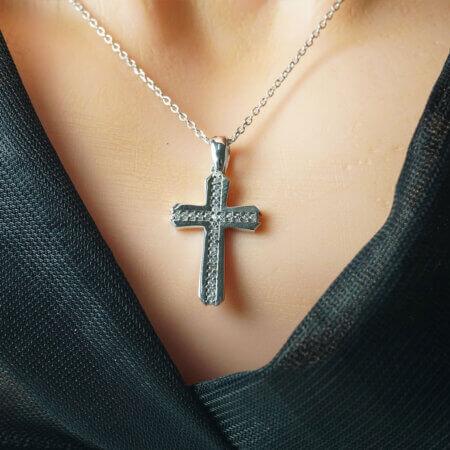Σταυρός Γυναικείος με Αλυσίδα Ασήμι 925 Ζιργκόν Λευκές Πέτρες