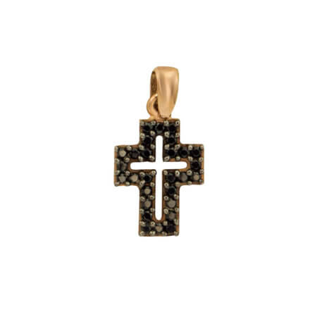Σταυρουδάκι Ροζ Χρυσό 9 Καράτια Μαύρες Πέτρες Ζιργκόν Γυναικείο