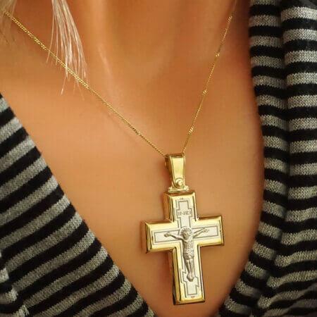 Βαπτιστικός Χρυσός Σταυρός με τον Εσταυρωμένο 9 Καρατίων Λευκόχρυσο Βάπτιση Αρραβώνας