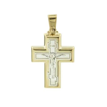 Βαπτιστικός Χρυσός Σταυρός Με Τον Εσταυρωμένο 9Κ