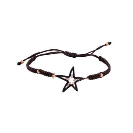 Βραχιόλι Ροζ Χρυσό Αστέρι 14Κ Ζιργκόν Πέτρες Μαύρο Κορδόνι