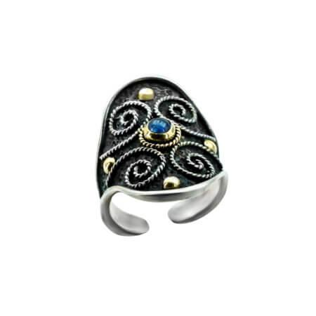 Χειροποίητο Ασημόχρυσο Δαχτυλίδι με Πέτρα Ζαφείρι 950 18Κ Γυναικείο Ρυθμιζόμενο Μέγεθος