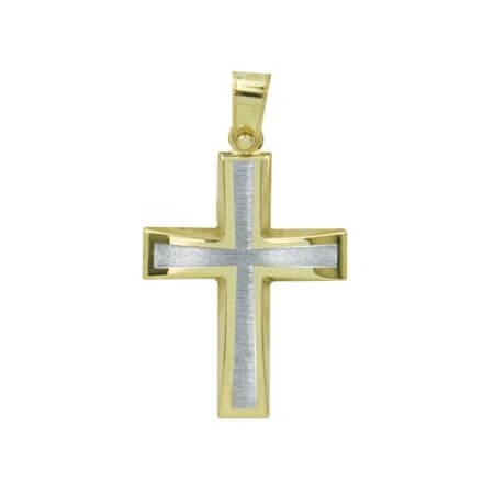 Χρυσός Σταυρός με Λευκόχρυσο 9Κ Διπλής Όψης Γυναικείος Ανδρικός