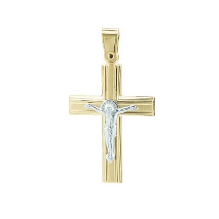 Χρυσός Σταυρός Βαπτιστικός 14 Καρατίων με Λευκόχρυσο Εσταυρωμένο Γυναικείος Ανδρικός