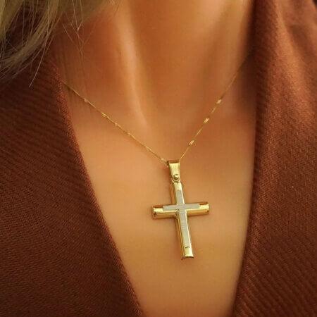 Χρυσός Σταυρός Βαπτιστικός με Λευκόχρυσο 9Κ Ανδρικός Γυναικείος