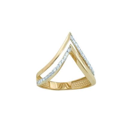Χρυσό Δαχτυλίδι 14Κ Σχήμα Διπλό V Λευκές Ζιργκόν
