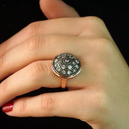 Ασημένιο Δαχτυλίδι Με Ζιργκόν Λευκές Πέτρες Ροζ Επίχρυσο Μαύρο Επιπλατίνωμα Ασήμι 925