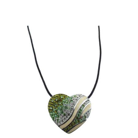 Ασημένιο Μενταγιόν Καρδιά Ζιργκόν Πέτρες 925