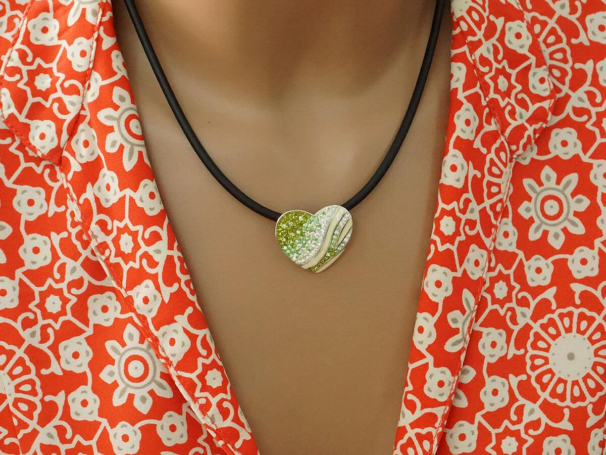 Ασημένιο Μενταγιόν Καρδιά Ζιργκόν Πέτρες 925 Κόσμημα Κολιέ Γυναίκα