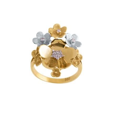 Δαχτυλίδι Δίχρωμο Χρυσό με Λουλούδια 14Κ Ζιργκόν Πέτρες