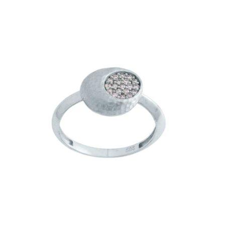 Δαχτυλίδι Λευκόχρυσο 14 Καράτια Ροζέτα Ζιργκόν Πέτρες Σφυρήλατο Σχέδιο