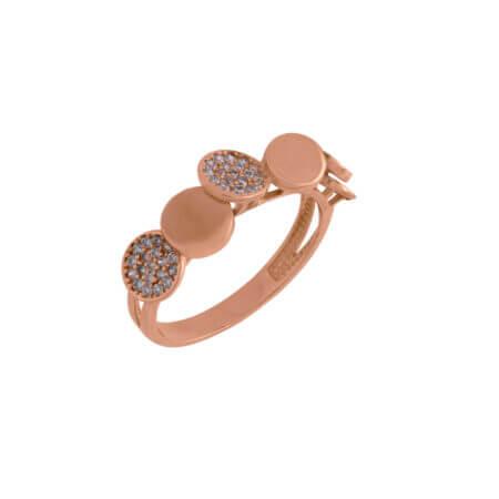Δαχτυλίδι Ροζέτα Ροζ Χρυσό 14Κ Ζιργκόν Πέτρες