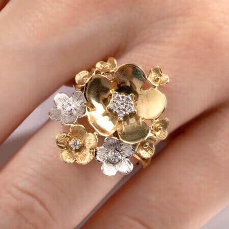 Δαχτυλίδι Δίχρωμο Χρυσό με Λουλούδια 14 Καράτια Ζιργκόν Πέτρες
