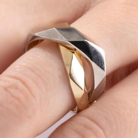 Δίχρωμο Χρυσό Δαχτυλίδι Χιαστί 14Κ Κίτρινο Λευκό Χρυσό