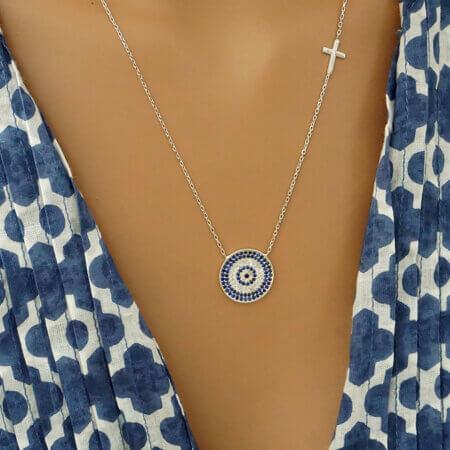 Γυναικείο Ασημένιο Κολιέ Με Ματάκι Σταυρό Ζιργκόν Πέτρες 925 Κόσμημα Καλοκαίρι