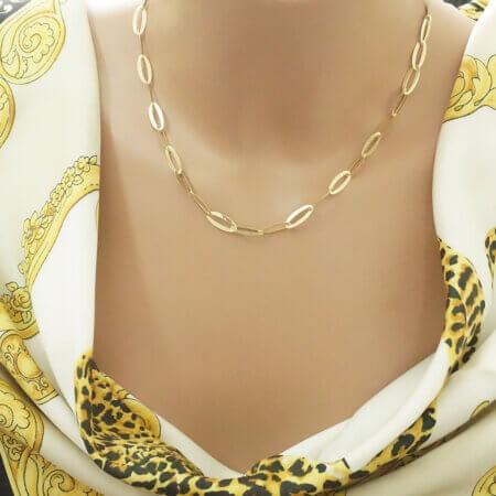 Γυναικείο Κολιέ Αλυσίδα Χρυσό 9 Καρατίων Οβάλ Σχήματα Μοτίφ