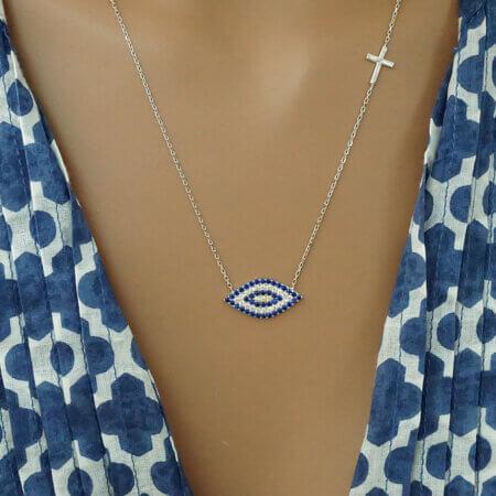 Γυναικείο Κολιέ Μάτι Με Ζιργκόν Πέτρες Σταυρουδάκι Ασήμι 925 Κόσμημα