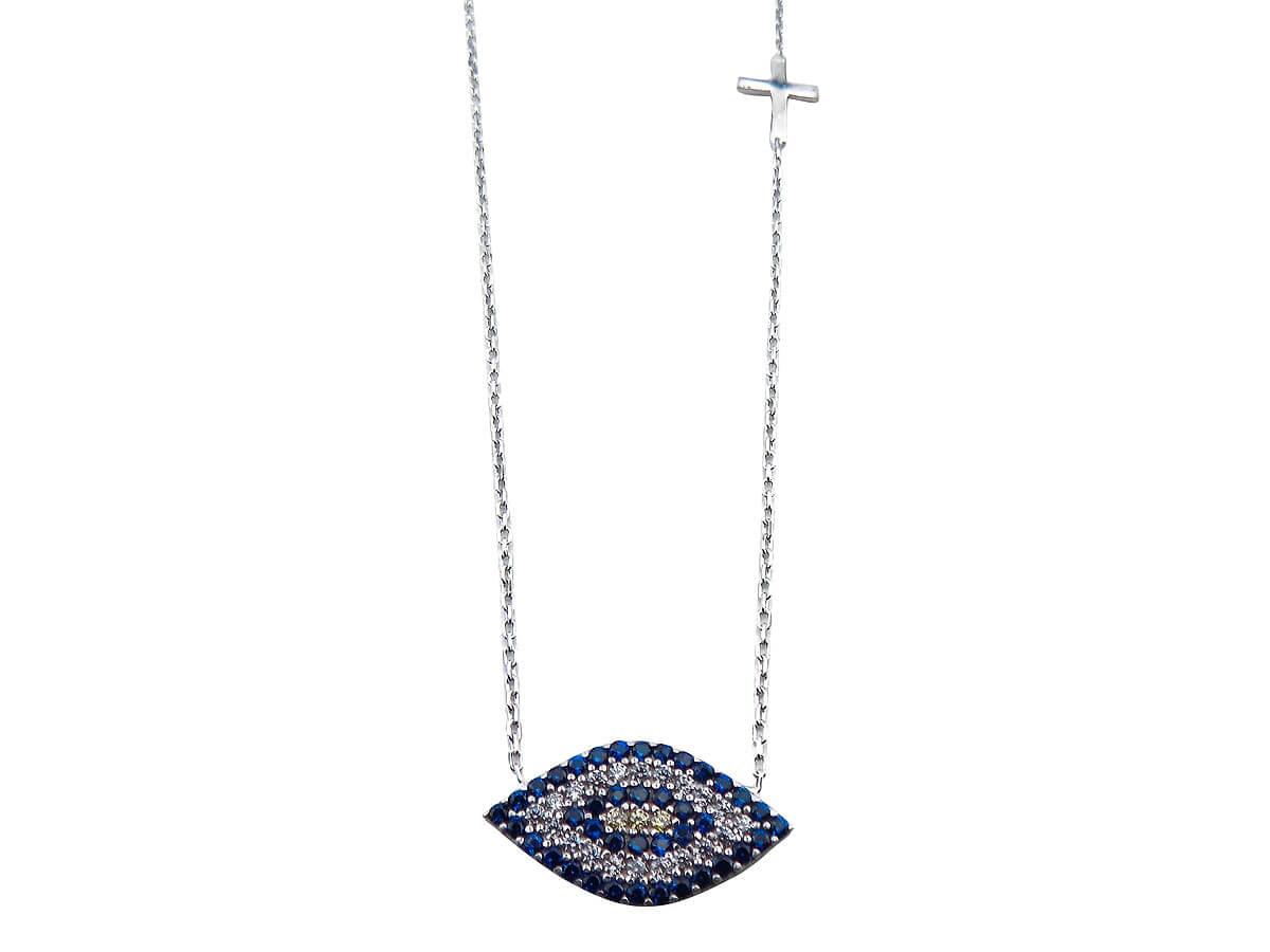 Γυναικείο Κολιέ Μάτι Με Ζιργκόν Πέτρες Σταυρουδάκι Ασήμι 925