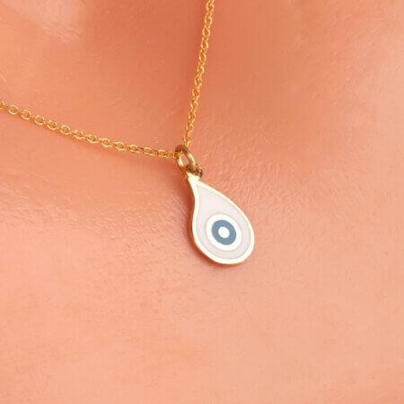 Γυναικείο Μενταγιόν Μάτι Χρυσό 9Κ Σχήμα Δάκρυ