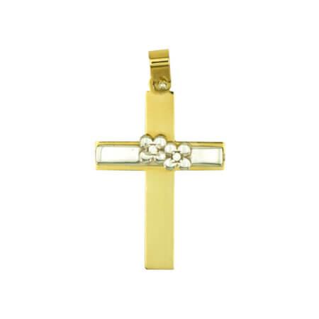 Γυναικείος Χρυσός Σταυρός 14Κ Δίχρωμος Κίτρινο Χρυσό Λευκόχρυσο Γάμος Αρραβώνας Βάπτιση