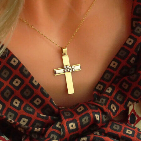 Γυναικείος Χρυσός Σταυρός 14Κ Δίχρωμος Κίτρινο Χρυσό Λευκόχρυσο Ζιργκόν Πέτρες Λουλούδια Γάμος Αρραβώνας Βάπτιση