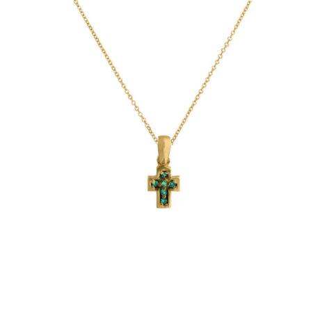Γυναικείος Χρυσός Σταυρός Με Αλυσίδα Και Πράσινες Ζιργκόν 14Κ