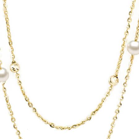 Κολιέ Με Μαργαριτάρια Διαμανταρισμένες Μπίλιες Χρυσό 9 Καρατίων Γυναικείο Κόσμημα