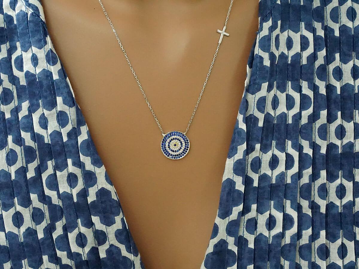 Κολιέ Με Ματάκι Σταυρό ΖΙργκόν Πέτρες Ασήμι 925 Γυναικείο Κόσμημα Δώρο