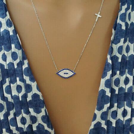 Κολιέ Με Ζιργκόν Σχέδιο Μάτι Σταυρουδάκι Ασήμι 925 Γυναίκα Κόσμημα Λαιμού