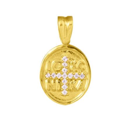 Κωνσταντινάτο Χρυσό 9Κ Πέτρες Λευκές Ζιργκόν Διπλής Όψης Γυναικείο