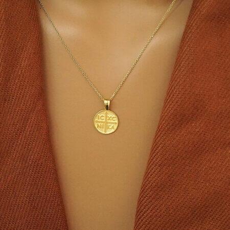 Κωνσταντινάτο Φυλαχτό Χρυσό 9 καράτια ΙΧΝΚ Δώρο Γέννησης Βάπτισης