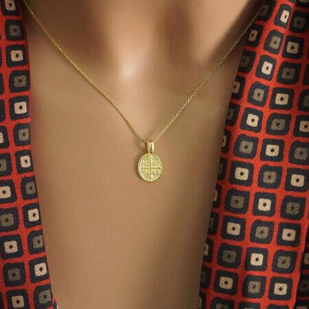 Μενταγιόν Χρυσό Κωνσταντινάτο για Μωρά 9 Καράτια Αγόρι Κορίτσι