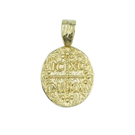 Μενταγιόν Χρυσό Κωνσταντινάτο 9Κ Διπλής Όψης