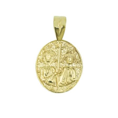 Μενταγιόν Χρυσό Κωνσταντινάτο 9Κ Διπλής Όψης Αγόρι Κορίτσι Γυναίκα