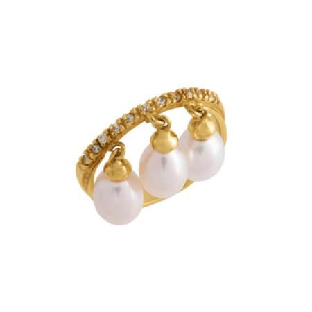 Χρυσό 14Κ Μισόβερο Δαχτυλίδι με Μαργαριτάρια Λευκά Ζιργκόν Πέτρες