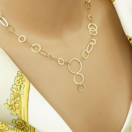 Μοντέρνο Γυναικείο Κολιέ Χρυσό 14Κ Ασύμμετροι Κύκλοι Αλυσίδα