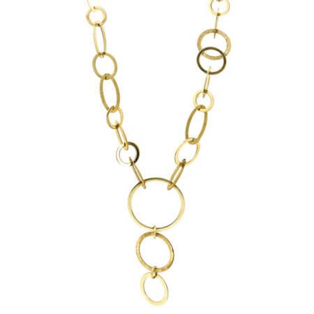 Μοντέρνο Κολιέ Χρυσό Μακρύ 9 Καρατίων Ασύμμετρους Κύκλους