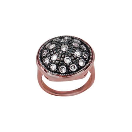 Ροζ Ασημένιο Δαχτυλίδι Με Ζιργκόν Μαύρο Επιπλατίνωμα 925