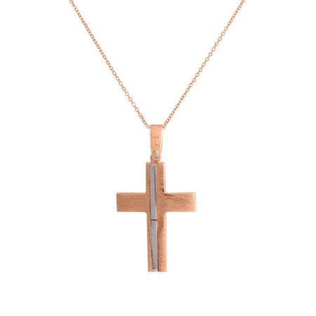 Σταυρός Ροζ Χρυσό με Λευκόχρυσο 14 Καράτια Αλυσίδα