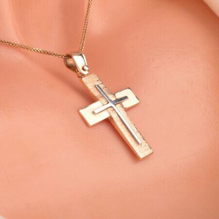 Σταυρός Βάπτισης Ροζ Χρυσό Λευκόχρυσο 14Κ