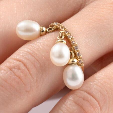Χρυσό 14 Καράτια Μισόβερο Δαχτυλίδι με Μαργαριτάρια Κρεμαστά Ζιργκόν Πέτρες Γυναικείο