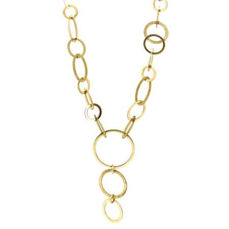 Κολιέ Χρυσό 14Κ Ασύμμετρους Κύκλους Γυναικείο