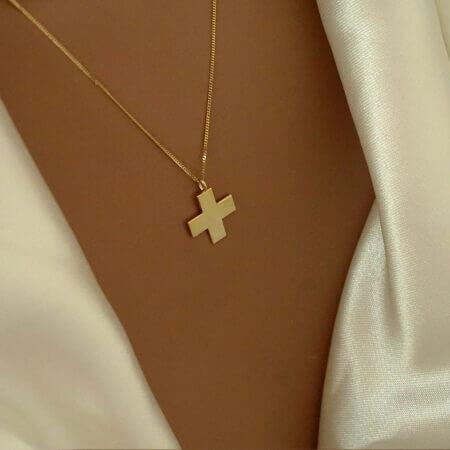 Χρυσό Σταυρουδάκι Με Αλυσίδα