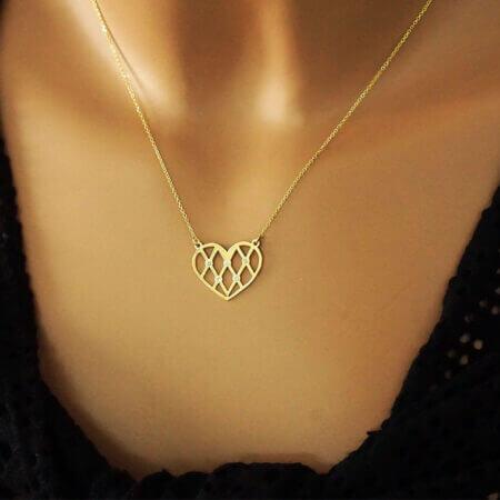 Γυναικείο Χρυσό Κρεμαστό Καρδιά 14Κ Λευκές Πέτρες Ζιργκόν Αλυσίδα Λαιμού