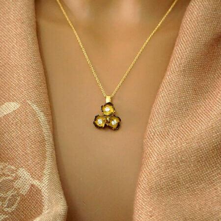 14Κ Χρυσό Χειροποίητο Μενταγιόν Λουλούδια Ζιργκόν Πέτρες Κόσμημα Γυναικείο