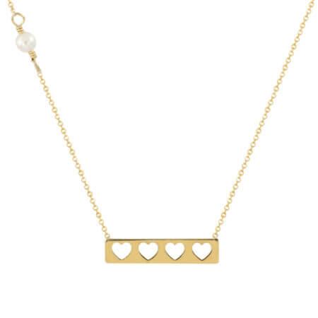 Γυναικείο Χρυσό Κολιέ Με Καρδούλες 14Κ Μαργαριτάρι